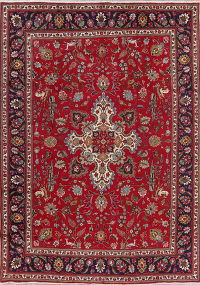 Floral Red Tabriz Persian Area Rug Wool 8x11