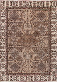 Vintage Brown Geometric Bakhtiari Persian Area Rug 7x10