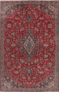 Antique Floral Red Kashan Persian Area Rug Wool 6x9