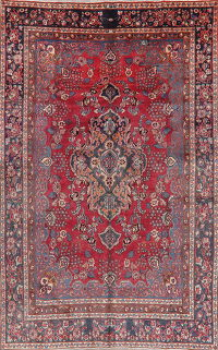 Vintage Floral Red Mashad Persian Area Rug Wool 7x11