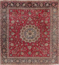 Antique Square Red Tabriz Persian Area Rug Wool 10x11