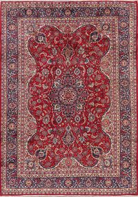 Floral Red Mashad Persian Area Rug Wool 8x11