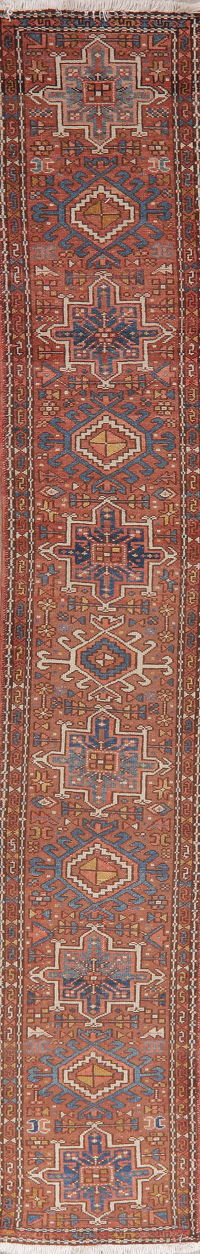 Antique Tribal Rust Gharajeh Persian Runner Rug 2x11