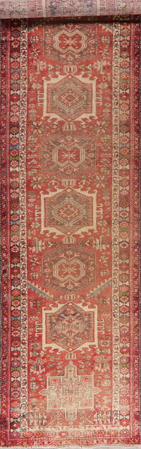 Tribal Geometric Gharajeh Persian Runner Rug 3x14