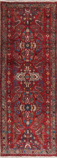 Vintage Red Floral Lilian Persian Runner Rug 4x10