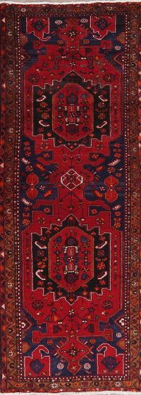 Vintage Geometric Red Zanjan Persian Runner Rug 4x9
