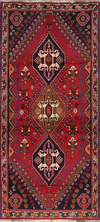 Vintage Geometric Red Abadeh Persian Rug 3x6