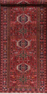 Vintage Tribal Geometric Red Gharajeh Persian Rug 5x13