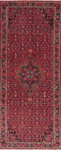 Geometric Red Hossainabad Persian Runner Rug 4x11