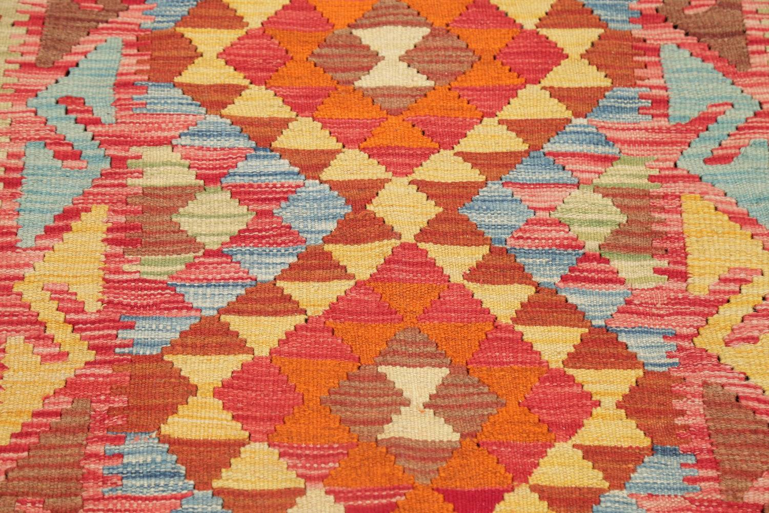 Pastel Geometric Kilim Turkish Rug 3x3 Square image 3