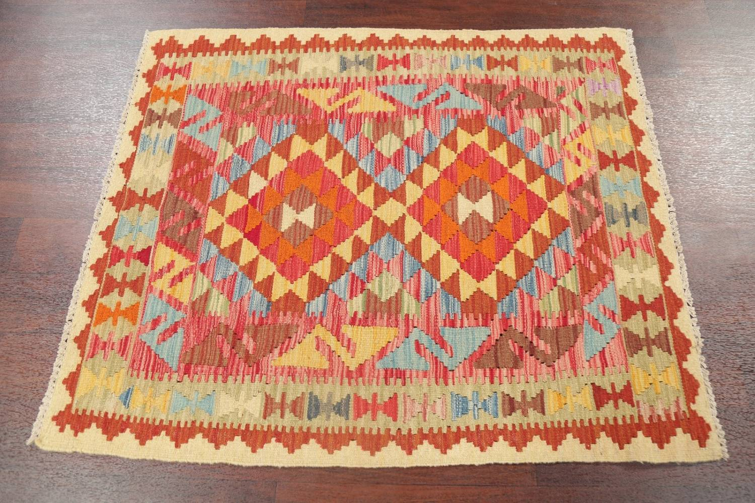 Pastel Geometric Kilim Turkish Rug 3x3 Square image 7