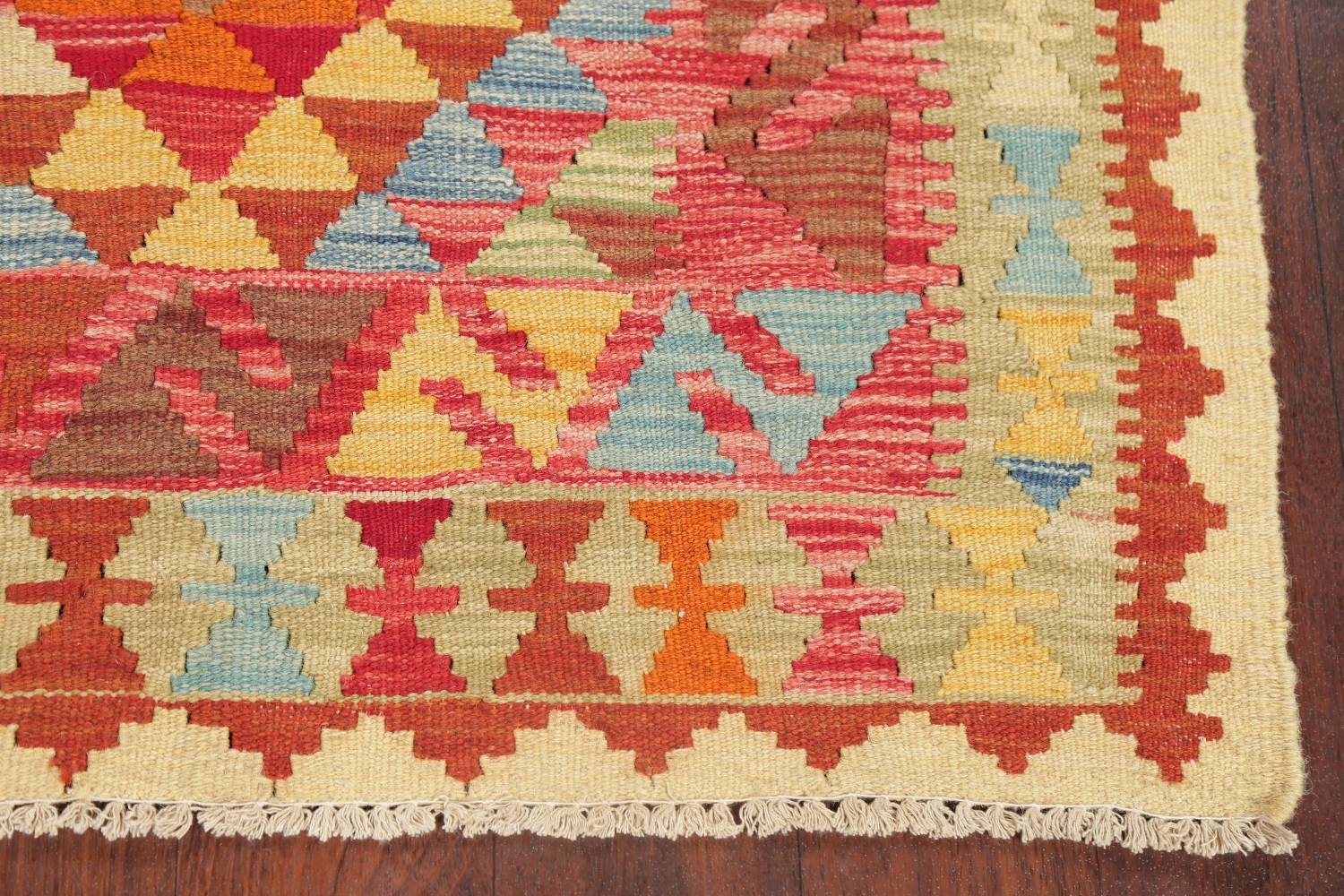 Pastel Geometric Kilim Turkish Rug 3x3 Square image 4