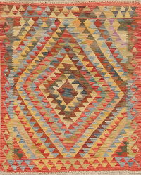 Pastel Geometric Kilim Turkish Rug Wool 3x4