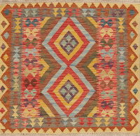 Pastel Geometric Kilim Turkish Rug 3x3 Square