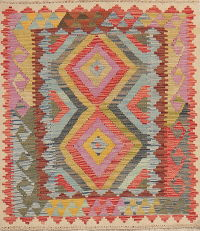 Pastel Geometric Kilim Turkish Oriental Rug Wool 3x4