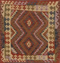 Flat-Woven Geometric Kilim Turkish Area Rug 4x4 Square