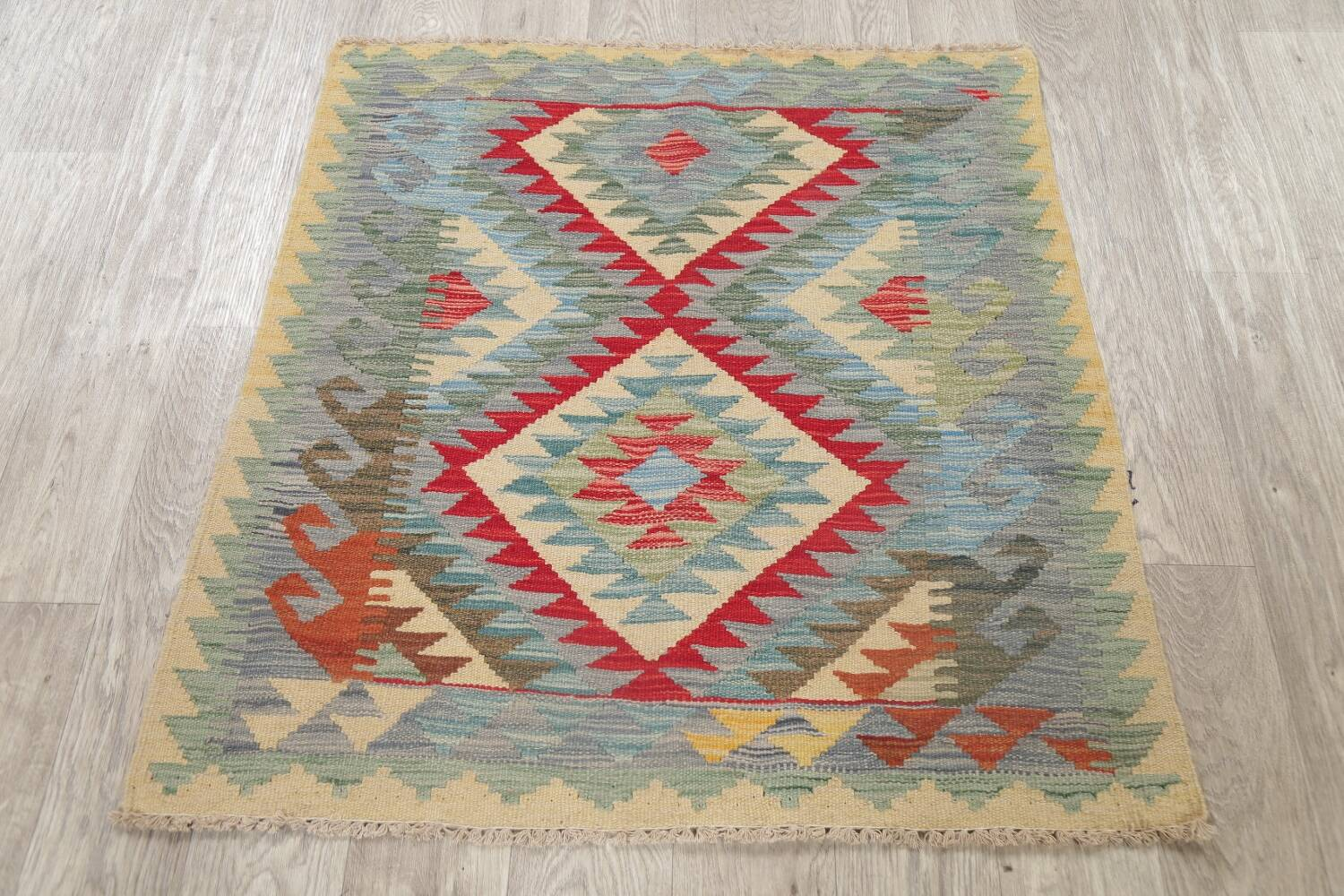 South-West Kilim Turkish Area Rug 3x3 Square image 9