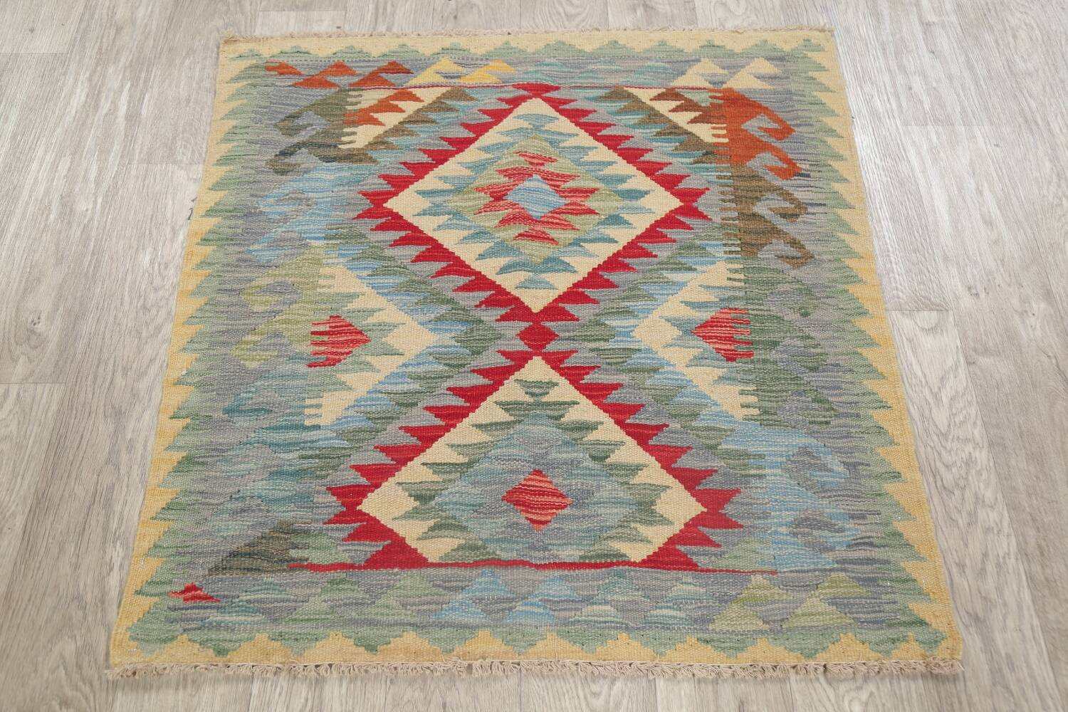 South-West Kilim Turkish Area Rug 3x3 Square image 2