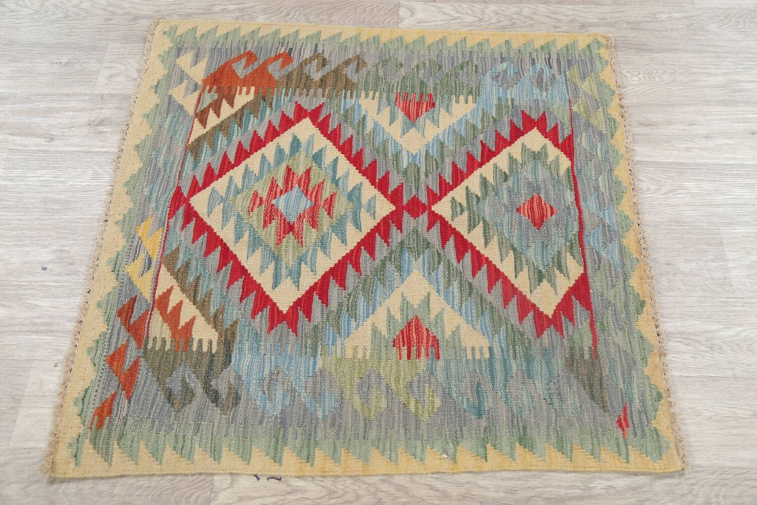 South-West Kilim Turkish Area Rug 3x3 Square image 8