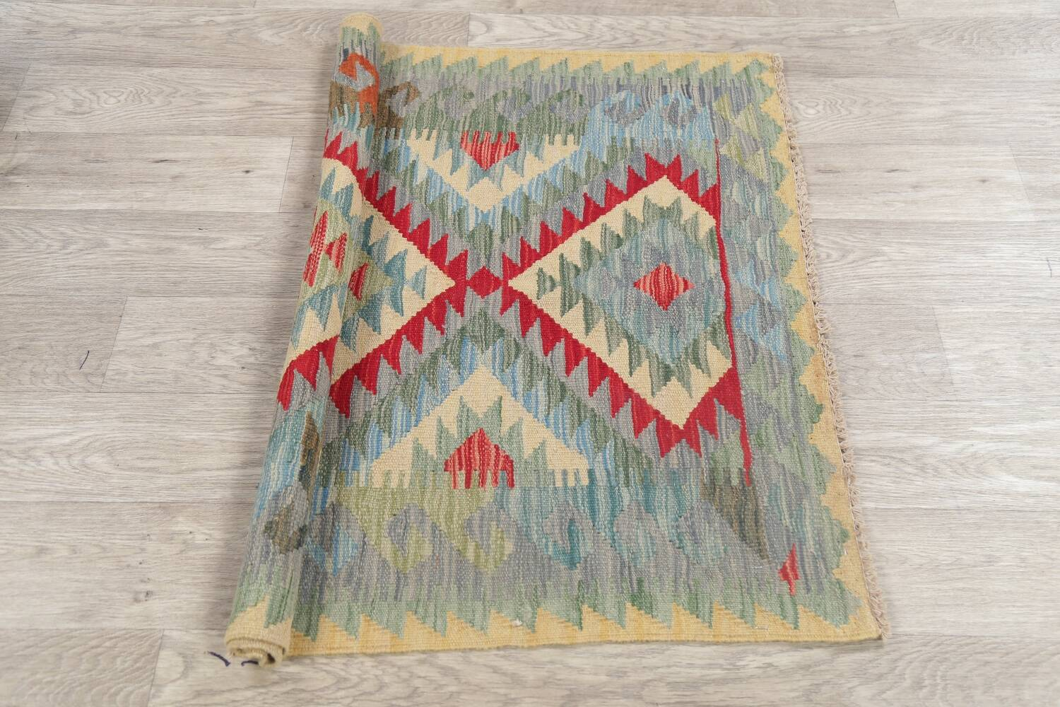 South-West Kilim Turkish Area Rug 3x3 Square image 10