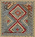 South-West Kilim Turkish Area Rug 3x3 Square image 1