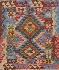 South-Western Kilim Turkish Area Rug 3x4