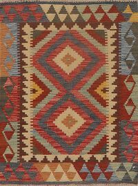 South-Western Geometric Kilim Turkish Area Rug 3x4