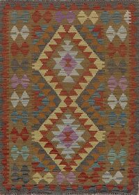South-West Style Geometric Kilim Turkish Area Rug 3x4