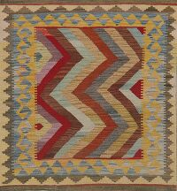 Flat-Woven Geometric Kilim Turkish Area Rug 3x4