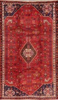 Vintage Tribal Red Abadeh Persian Area Rug 5x9