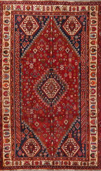 Red Tribal Geometric Kashkoli Persian Area Rug 5x9
