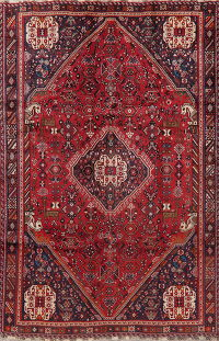 Vintage Red Tribal Geometric Abadeh Persian Ara Rug 6x9