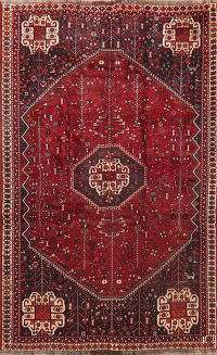 Vintage Red Tribal Abadeh Persian Area Rug 5x8