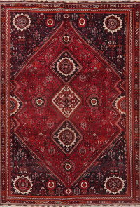 Vintage Red Tribal Shiraz Persian Area Rug Wool 7x10