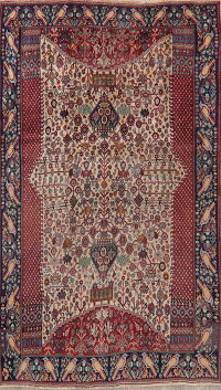 Antique Tribal Animals Kashkoli Persian Area Rug 5x8