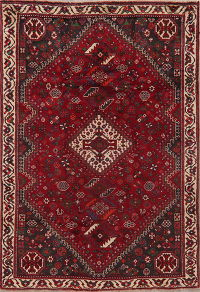 Vintage Red Tribal Shiraz Persian Area Rug 5x7