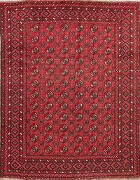 Geometric Red Balouch Afghan Oriental Area Rug 7x9