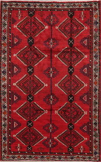 Vintage Geometric Red Shiraz Persian Area Rug 5x8