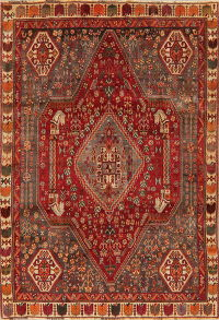Vintage Tribal Red Abadeh Persian Area Rug 6x9