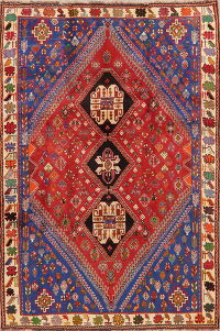 Tribal Red Abadeh Nafar Persian Area Rug 6x9