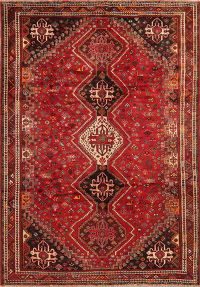 Vintage Tribal Red Shiraz Persian Area Rug 7x10