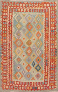 Pastel Geometric Kilim Turkish Area Rug 6x10