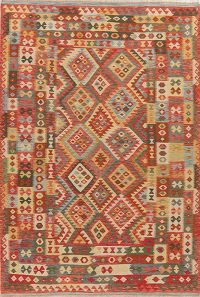Pastel Geometric Kilim Turkish Area Rug 7x10