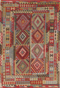 South-West Geometric Kilim Turkish Area Rug 6x9