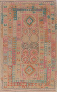 Pastel Geometric Kilim Turkish Area Rug 7x11