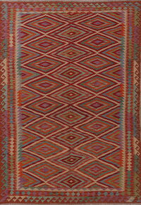 Pastel Geometric Kilim Turkish Area Rug 6x8