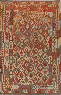 Geometric Kilim Turkish Oriental Area Rug 7x10