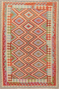 Pastel Geometric Kilim Turkish Area Rug 5x8