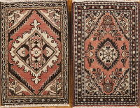 Set of 2 Vintage Geometric Hamedan Persian Rugs 1x2