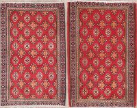 Set of 2 Red Vintage Abadeh Persian Rugs 2x3